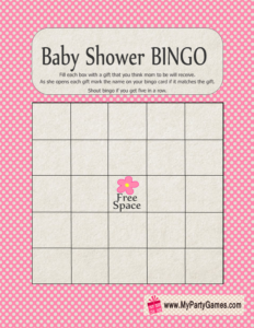 Free Printable Baby Shower Gift Bingo Card in Pink Color