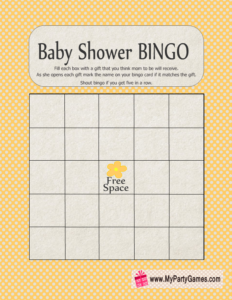 Baby Shower Gift Bingo Game in Yellow Color