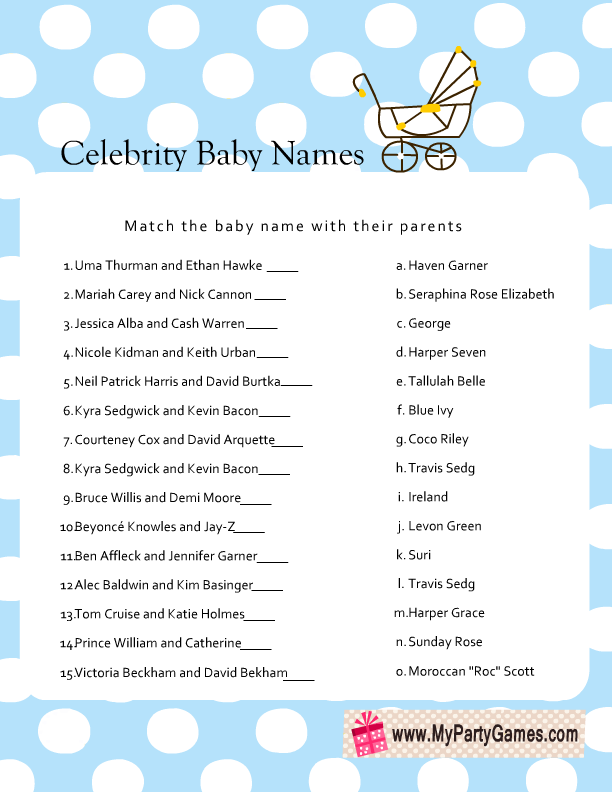 Baby Shower Games at BabyNames.com