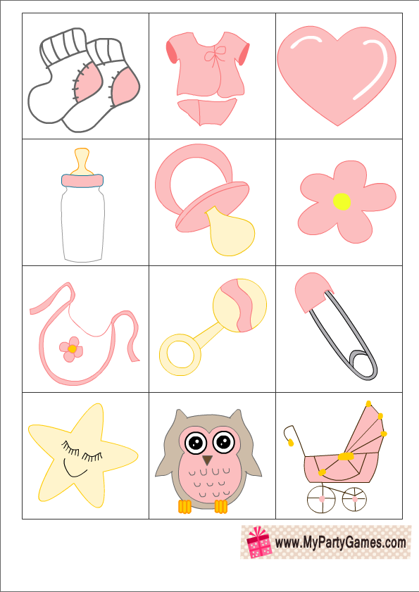 Great Who Am I? Free Printable Baby Shower Ice Breaker Game In Pink Color