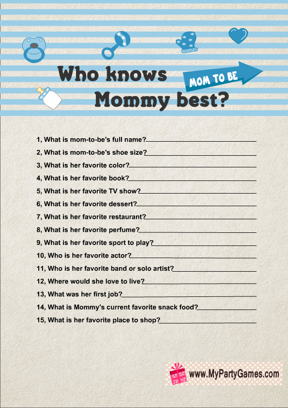 who knows mommy best free printable baby shower game in blue color