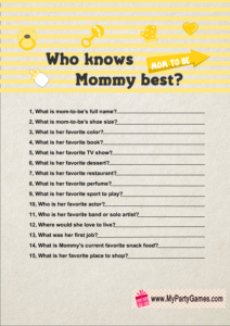 Who knows Mommy best? Game Printable in Yellow Color