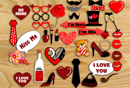 Free Printable Valentine Photo Booth Props