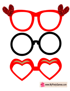 Free Printable Love Glasses, Valentine Photo Booth Props