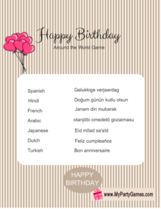 Free Printable Happy Birthday Around the World Game