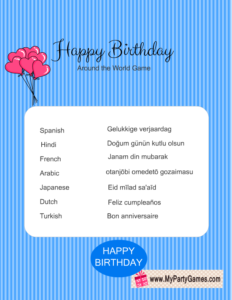 Free Printable Happy Birthday Around the World Game in Blue Color