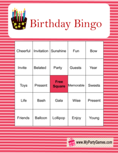 Free Printable Birthday Bingo Game in Pink Color