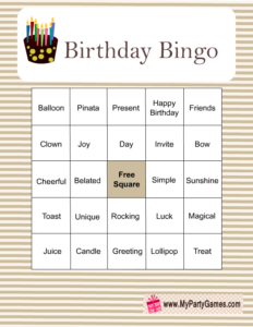 Birthday Bingo Game Cards in Brown Color