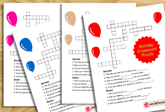Printable Birthday Crossword Puzzle Game for Kids