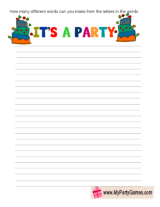 How many words can you form using the letters in words 'It's a party'