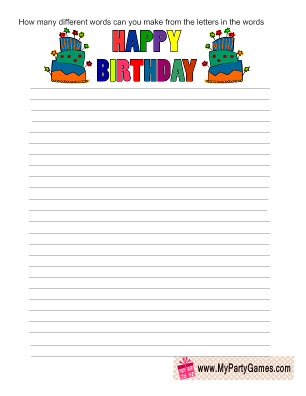 make words from letters game free printable birthday word mining 681