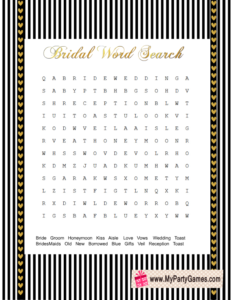 Wedding Word Search Game in Black, white & gold