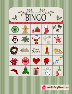 Free Printable Christmas Bingo Game Card 13