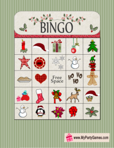 Free Printable Christmas Bingo Game Card 7