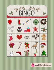 Free Printable Christmas Bingo Game Card 9