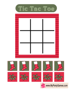 Free Printable Tic Tac Toe Game for Christmas in Red and Green
