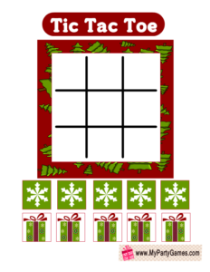 Tic Tac Toe Game Printable for Christmas