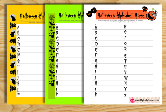 Free Printable Halloween Alphabet Game