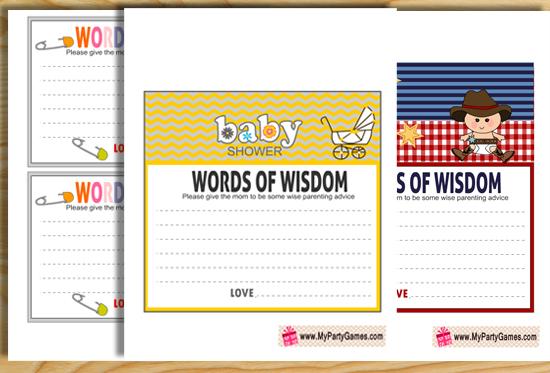 Free Printable Words of Wisdom Cards