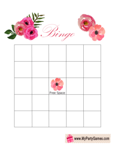 Floral Bridal Shower Gift Bingo Card