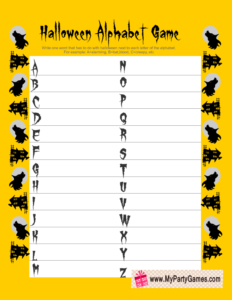 Free Printable Halloween Alphabet Game in Yellow Color