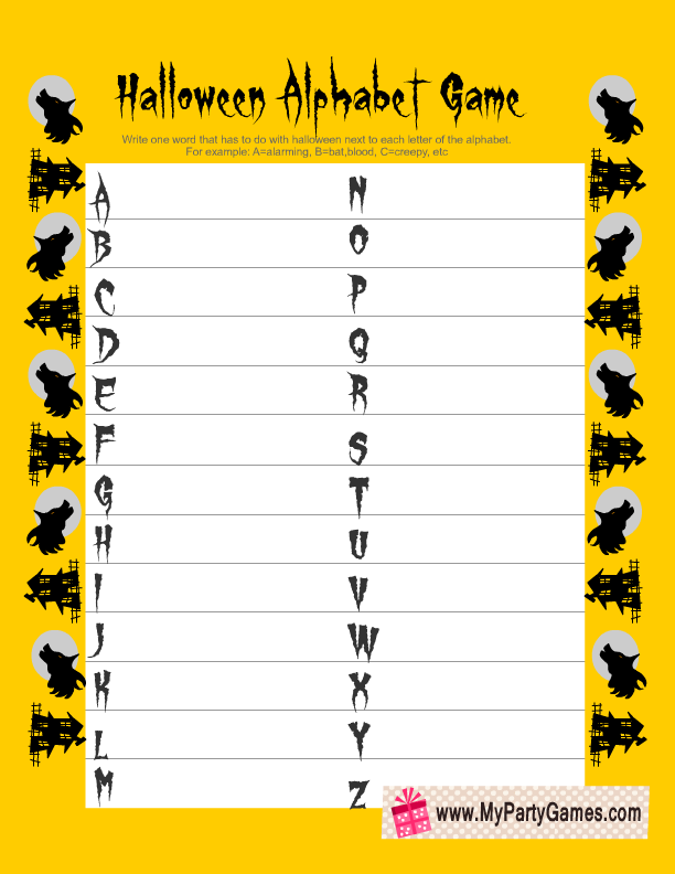 picture relating to Printable Halloween Game identified as Free of charge Printable Halloween Alphabet Recreation