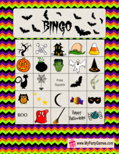 Free Printable Halloween Picture Bingo Game Card 1