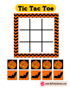 Free Printable Halloween themed Tic Tac Toe Game Card