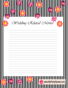 Wedding related Movies Name Game Printable in Black and White