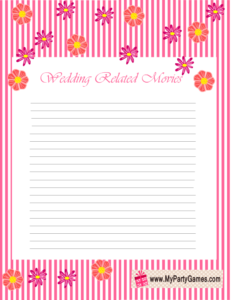 Wedding related Movies Name Game Printable in Pink and White