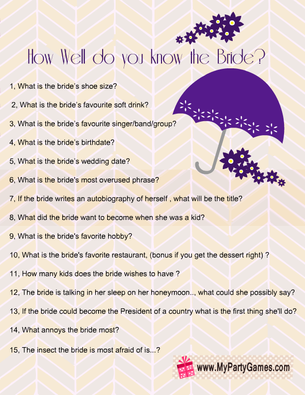 photo about Free Printable Bridal Shower Games How Well Do You Know the Bride named How effectively do your self realize the bride?