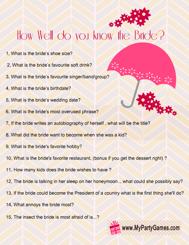 image regarding How Well Do You Know the Bride Printable identify How very well do your self comprehend the bride?