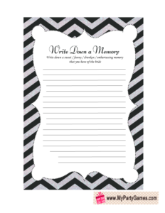 Free Printable Share a Memory with the Bride Game Card