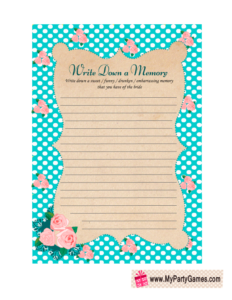 Memory with the Bride Game in Shabby Chic Design