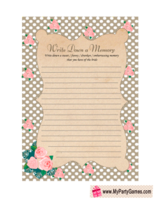 Memory with the Bride Game in Taupe Shabby Chic Design