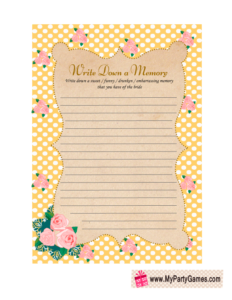 Memory with the Bride Game in Yellow Shabby Chic Design