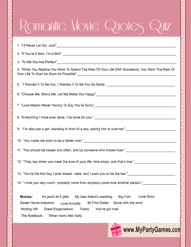 free printable bridal shower romantic movie quotes quiz
