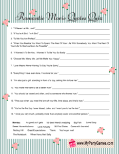 Shabby Chic Romantic Movie Quotes Quiz Game Card