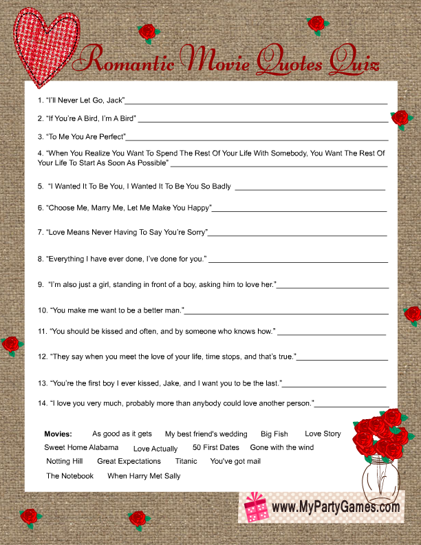 rustic bridal shower romantic movie quotes quiz game card
