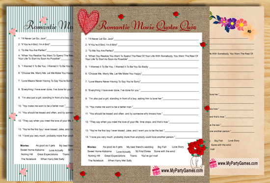 Bridal Shower Romantic Movie Quotes Quiz