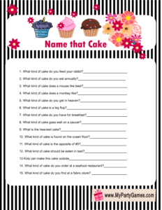 Free Printable Name that Cake Bridal Shower Game