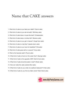 Name that Cake Bridal Shower Game Answer Sheet