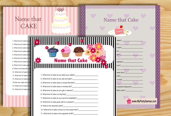 Name that Cake Bridal Shower Game {Free Printable}