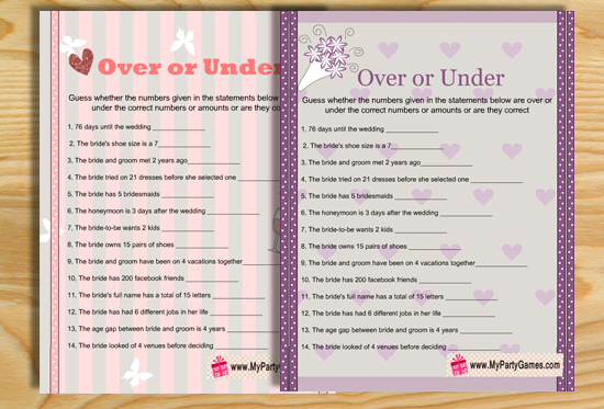 Over or Under Bridal Shower Game Printables