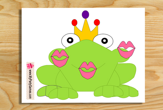 Free Printable Pin the Kiss on Frog Princess Party Game