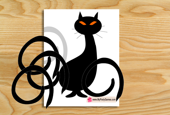 Pin the Tail on the Balck Cat Halloween Game { Free Printable }