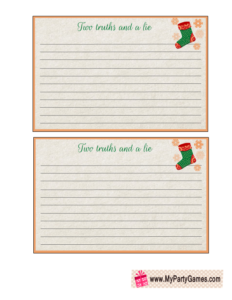 Free Printable Two truths and a Lie Game Cards for Christmas