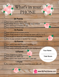 What's in your Phone Game in Rustic Style
