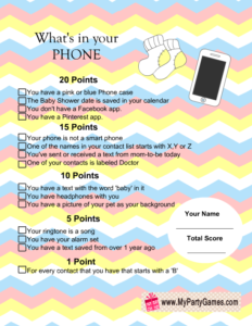 What's in your Phone Baby Shower Game with Chevron Pattern