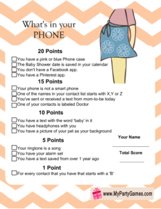 free printable what's in your phone game with orange chevron pattern